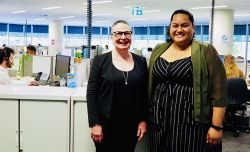 Legal Aid NSW Civil Law Director Meredith Osborne and disaster response specialist Ma'ata Solofoni at the launch of the Disaster Response Legal Service NSW