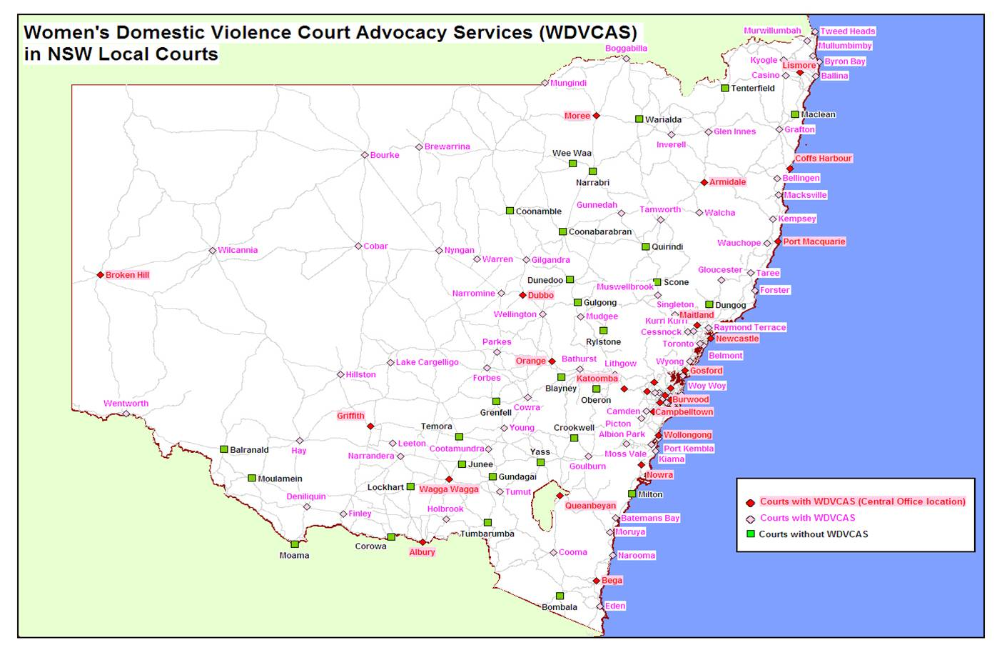 Map of WDVCAS services Legal Aid NSW