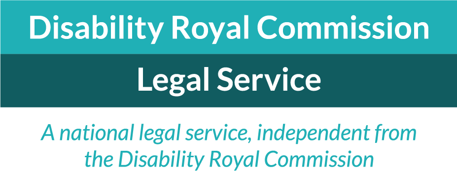 Teal and lime green logo: National Legal Aid Advisory Service for the Disability Royal Commission