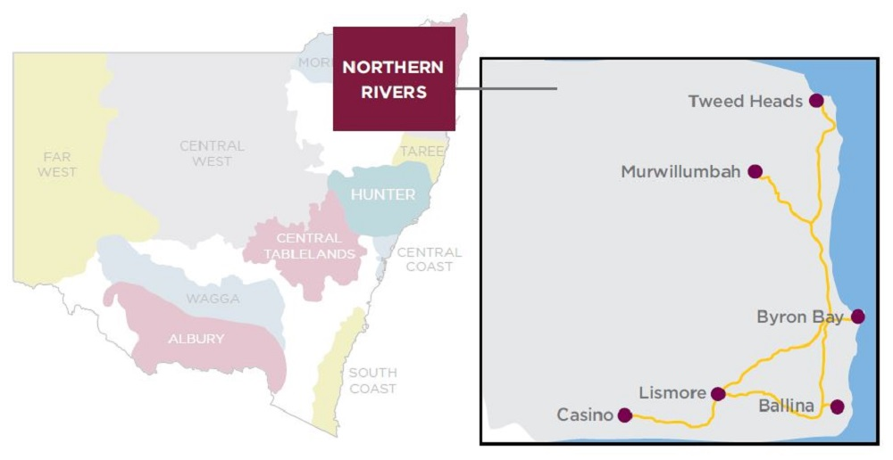 Northern Rivers CLSD region map